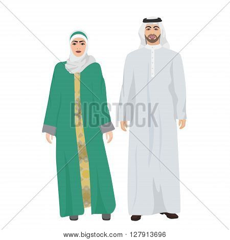 Arabic man male and woman female together in traditional national clothes dress costume