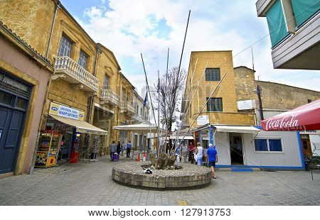 LEDRAS STREET NICOSIA CYPRUS, NOVEMBER 26 2015: memorial at the end of Ledras street Nicosia/Lefkosia Cyprus. Editorial use.