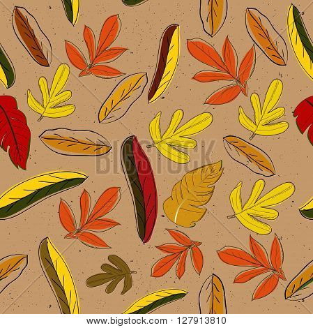 Seamless texture with autumn leaves. Vector illustration EPS8