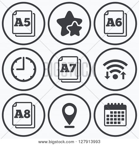 Clock, wifi and stars icons. Paper size standard icons. Document symbols. A5, A6, A7 and A8 page signs. Calendar symbol.