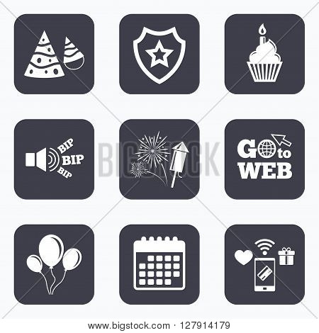 Mobile payments, wifi and calendar icons. Birthday party icons. Cake, balloon, hat and muffin signs. Fireworks with rocket symbol. Cupcake with candle. Go to web symbol.