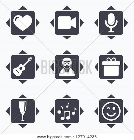 Icons with direction arrows. Party celebration, birthday icons. Carnival, guitar and champagne glass signs. Gift box, music and video camera symbols. Square buttons.