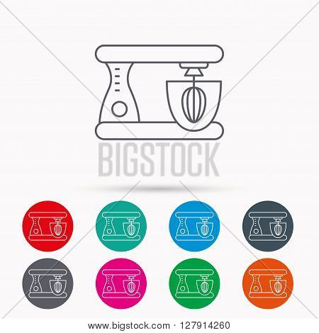 Mixer icon. Electric blender sign. Linear icons in circles on white background.