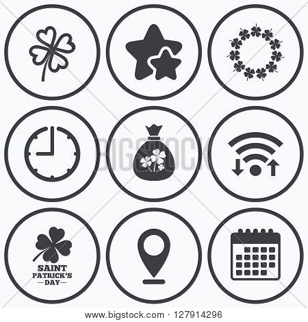 Clock, wifi and stars icons. Saint Patrick day icons. Money bag with clover sign. Wreath of quatrefoil clovers. Symbol of good luck. Calendar symbol.