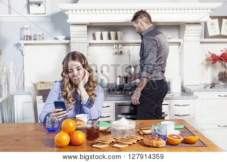 Beautiful Husband Prepares Breakfast For A Bored Wife