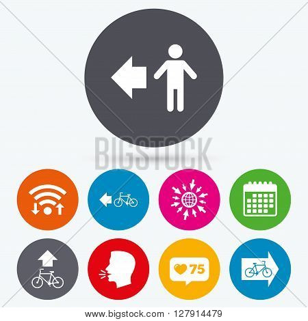 Wifi, like counter and calendar icons. Pedestrian road icon. Bicycle path trail sign. Cycle path. Arrow symbol. Human talk, go to web.