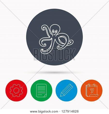 Octopus icon. Ocean devilfish sign. Calendar, cogwheel, document file and pencil icons.