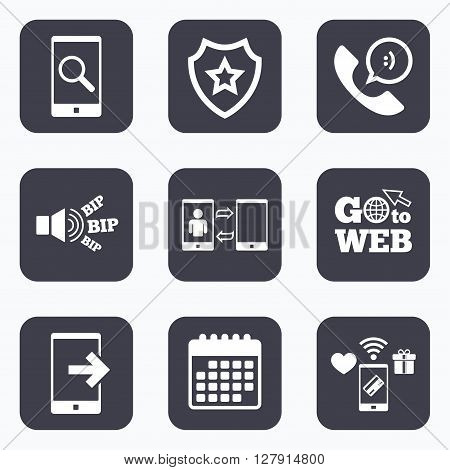 Mobile payments, wifi and calendar icons. Phone icons. Smartphone with speech bubble sign. Call center support symbol. Synchronization symbol. Go to web symbol.