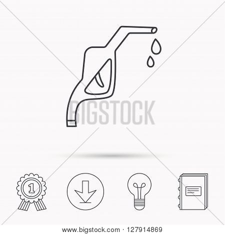 Gasoline pump nozzle icon. Gas or Petrol station sign. Download arrow, lamp, learn book and award medal icons.