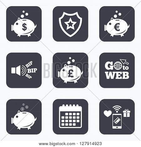 Mobile payments, wifi and calendar icons. Piggy bank icons. Dollar, Euro and Pound moneybox signs. Cash coin money symbols. Go to web symbol.