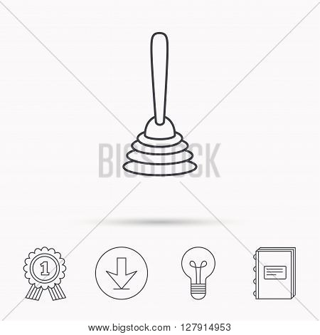 Plunger icon. Toilet cleaning tool sign. Download arrow, lamp, learn book and award medal icons.