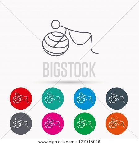 Gymnastic for pregnant icon. Pilates fitness sign. Sport workout symbol. Linear icons in circles on white background.
