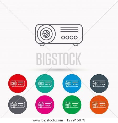 Projector icon. Video presentation device sign. Business office conference tool symbol. Linear icons in circles on white background.