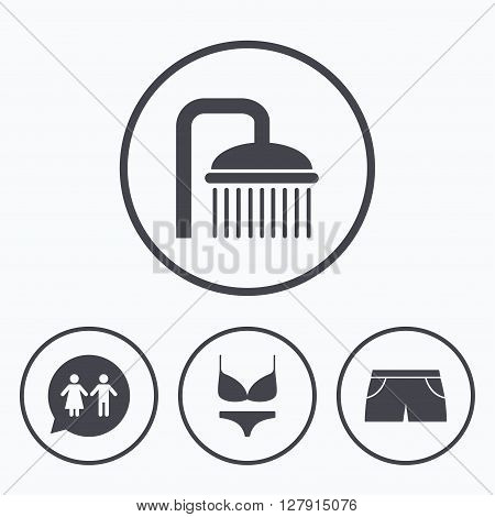Swimming pool icons. Shower water drops and swimwear symbols. WC Toilet speech bubble sign. Trunks and women underwear. Icons in circles.