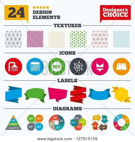 Banner tags, stickers and chart graph. Swimming pool icons. Shower water drops and swimwear symbols. WC Toilet speech bubble sign. Trunks and women underwear. Linear patterns and textures.