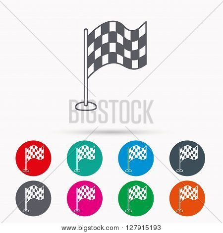 Racing flag icon. Finishing symbol. Linear icons in circles on white background.