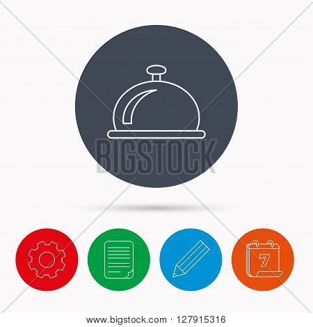 Reception bell icon. Hotel service sign. Calendar, cogwheel, document file and pencil icons.