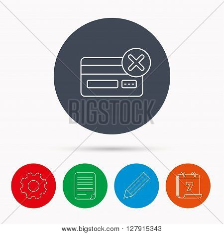 Remove credit card icon. Shopping sign. Calendar, cogwheel, document file and pencil icons.