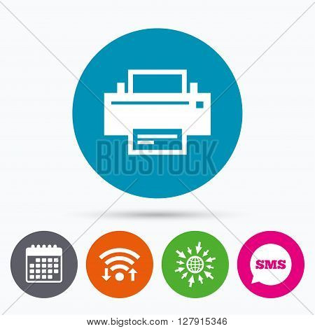 Wifi, Sms and calendar icons. Print sign icon. Printing symbol. Print button. Go to web globe.