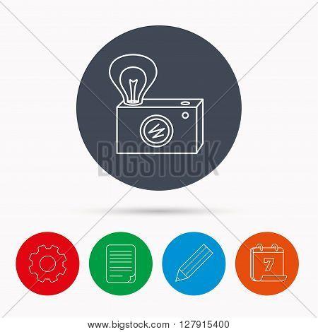 Retro photo camera icon. Photographer equipment sign. Camera with lamp flash. Calendar, cogwheel, document file and pencil icons.