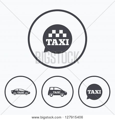 Public transport icons. Taxi speech bubble signs. Car transport symbol. Icons in circles.