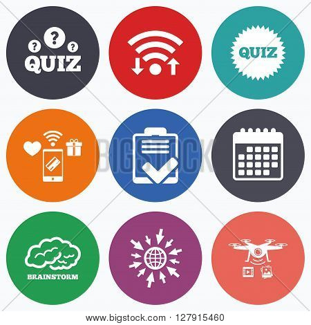 Wifi, mobile payments and drones icons. Quiz icons. Brainstorm or human think. Checklist symbol. Survey poll or questionnaire feedback form. Questions and answers game sign. Calendar symbol.
