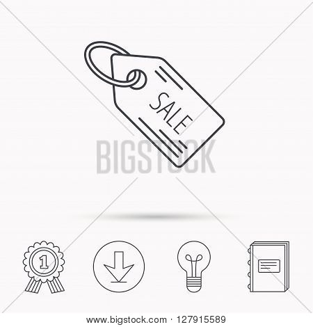Sale shopping tag icon. Discount label sign. Download arrow, lamp, learn book and award medal icons.
