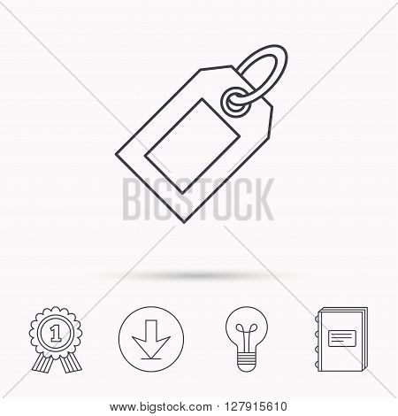 Sale tag icon. Price label sign. Download arrow, lamp, learn book and award medal icons.