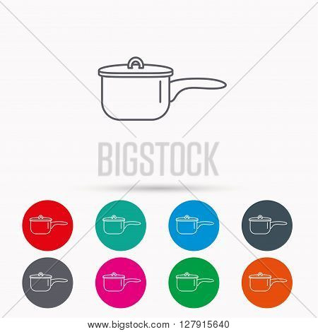 Saucepan icon. Cooking pot or pan sign. Linear icons in circles on white background.