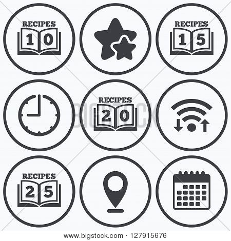 Clock, wifi and stars icons. Cookbook icons. 10, 15, 20 and 25 recipes book sign symbols. Calendar symbol.