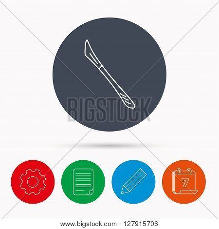 Scalpel icon. Surgeon tool sign. Calendar, cogwheel, document file and pencil icons.