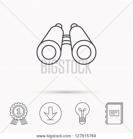 Search icon. Binoculars sign. Spyglass symbol. Download arrow, lamp, learn book and award medal icons.