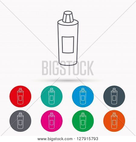 Shampoo bottle icon. Liquid soap sign. Linear icons in circles on white background.