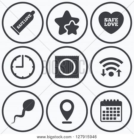 Clock, wifi and stars icons. Safe sex love icons. Condom and package symbol. Sperm sign. Fertilization or insemination. Calendar symbol.
