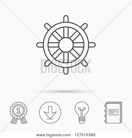 Ship steering wheel icon. Captain rudder sign. Sailing symbol. Download arrow, lamp, learn book and award medal icons.