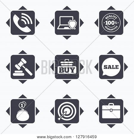 Icons with direction arrows. Online shopping, e-commerce and business icons. Auction, phone call and sale signs. Cash money, case and target symbols. Square buttons.