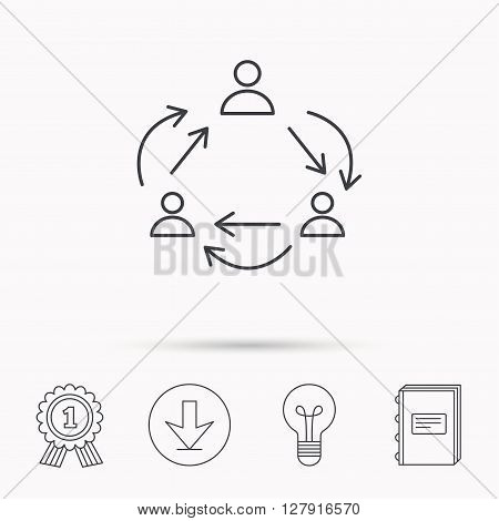Teamwork icon. Office working process sign. Communication employees symbol. Download arrow, lamp, learn book and award medal icons.