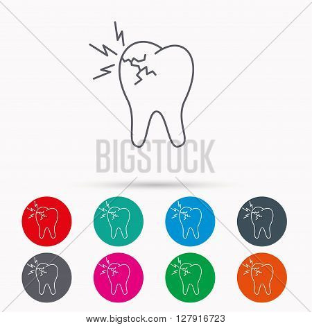 Toothache icon. Dental healthcare sign. Linear icons in circles on white background.