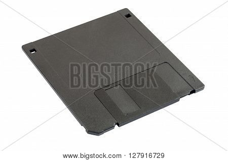 Black floppy disk isolated on white background with clipping path