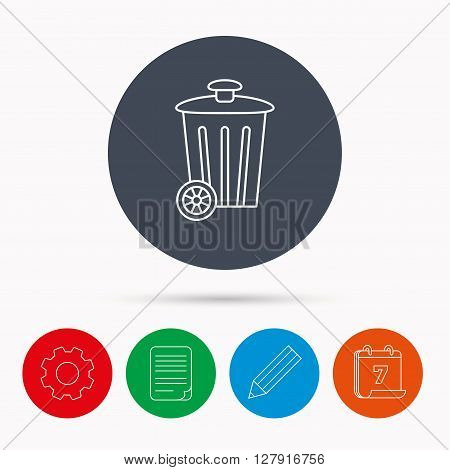Recycle bin icon. Trash container sign. Street rubbish symbol. Calendar, cogwheel, document file and pencil icons.
