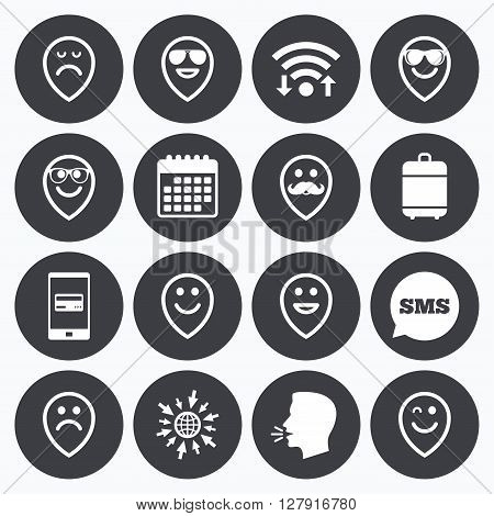 Wifi, calendar and mobile payments. Smile pointers icons. Happy, sad and wink faces signs. Sunglasses, mustache and laughing lol smiley symbols. Sms speech bubble, go to web symbols.