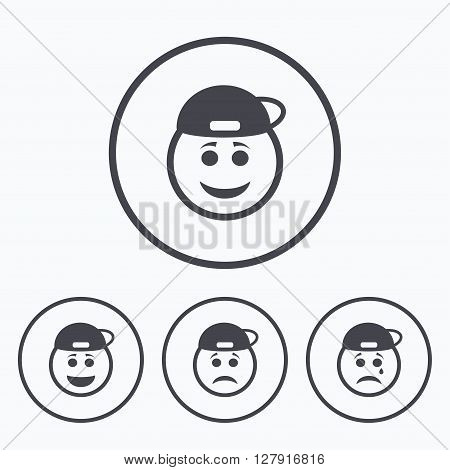 Rapper smile face icons. Happy, sad, cry signs. Happy smiley chat symbol. Sadness depression and crying signs. Icons in circles.