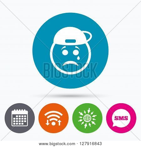 Wifi, Sms and calendar icons. Sad rapper face with tear sign icon. Crying chat symbol. Go to web globe.