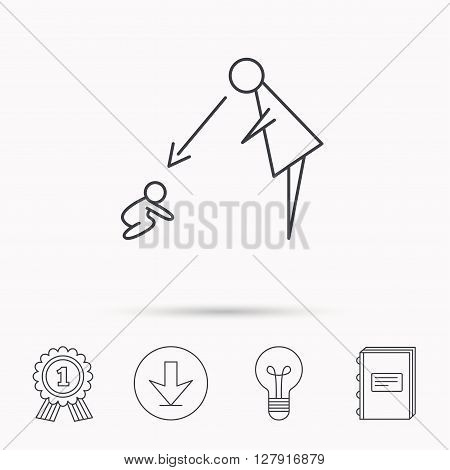 Under nanny supervision icon. Babysitting care sign. Mother watching baby symbol. Download arrow, lamp, learn book and award medal icons.