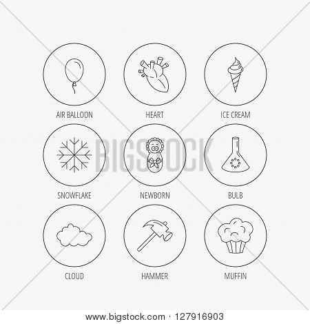 Newborn, heart and lab bulb icons. Ice cream, muffin and air balloon linear signs. Cloud and snowflake flat line icons. Linear colored in circle edge icons.