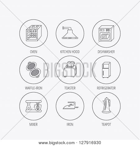 Dishwasher, refrigerator fridge and blender icons. Kitchen hood, mixer and toaster linear signs. Oven, teapot and waffle-iron icons. Linear colored in circle edge icons.