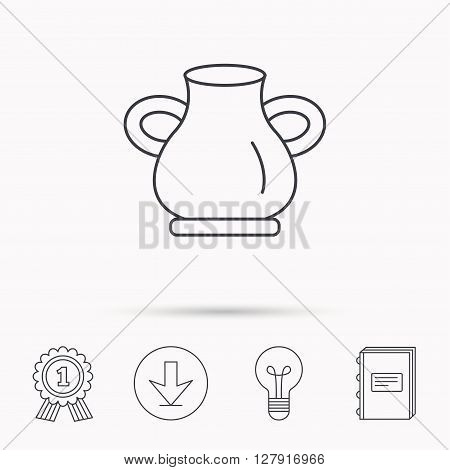 Vase icon. Decorative vintage amphora sign. Download arrow, lamp, learn book and award medal icons.
