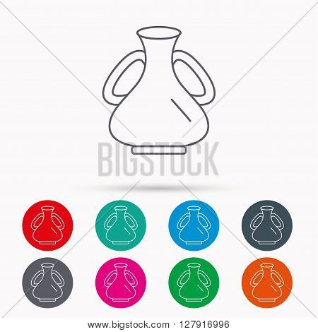 Vase icon. Decorative vintage amphora sign. Linear icons in circles on white background.