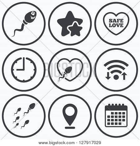 Clock, wifi and stars icons. Sperm icons. Fertilization or insemination signs. Safe love heart symbol. Calendar symbol.