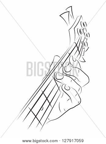 Playing bass illustration. Left hand finger press string.
